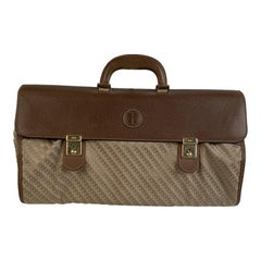 Gucci Vintage Beige Monogram Canvas Leather Foldable Travel Bag