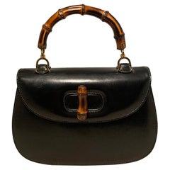 Gucci Vintage Black Bamboo Line Handbag c1960s