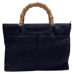 Gucci Vintage Black Canvas Front Pockets Bamboo Tote Bag