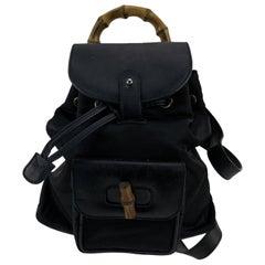 Gucci Vintage Black Canvas Small Bamboo Backpack Shoulder Bag