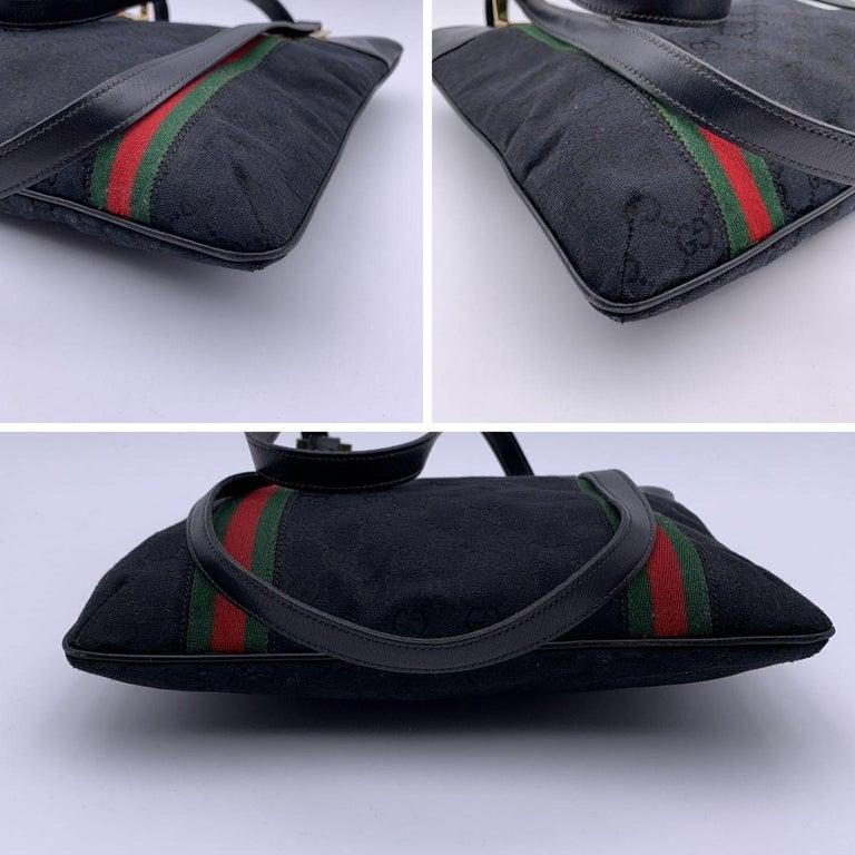 Gucci Vintage Black GG Monogram Canvas Tote Bag with Stripes For Sale 1
