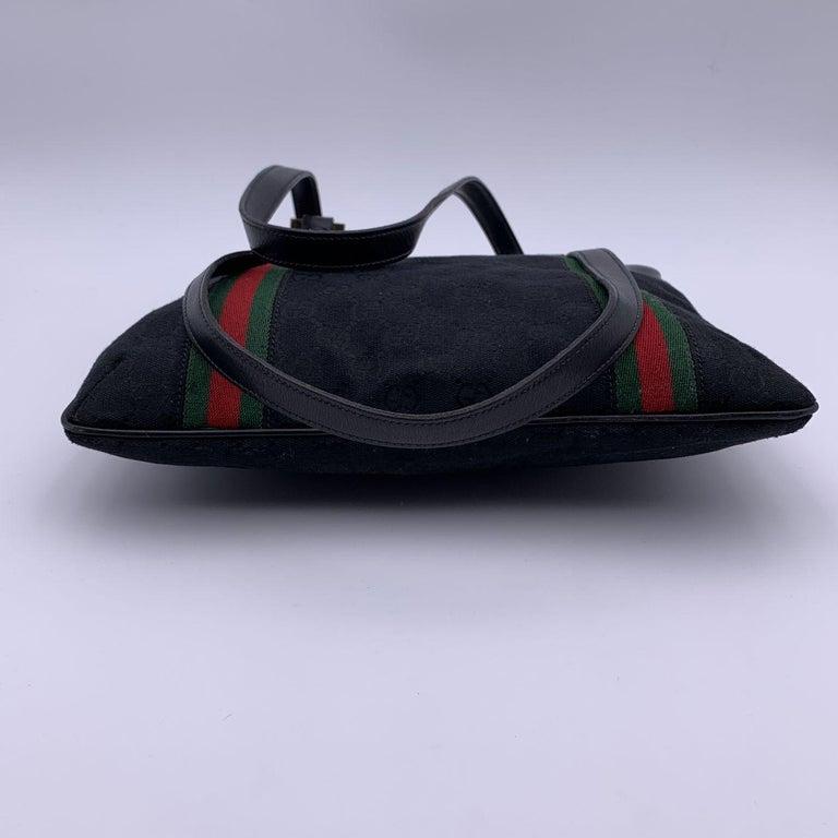 Gucci Vintage Black GG Monogram Canvas Tote Bag with Stripes For Sale 3