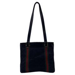 Gucci Vintage Black GG Monogram Canvas Tote Bag with Stripes