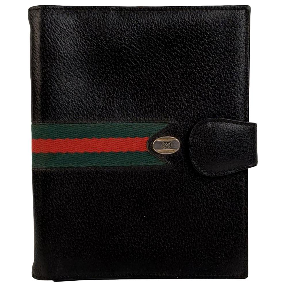 Gucci Vintage Black Leather 4 Ring Agenda Cover with Stripes