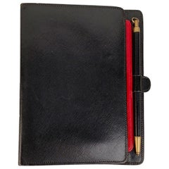 Gucci Vintage Black Leather 6 Ring Agenda Notebook with Pen