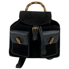 Gucci Vintage Black Leather and Suede Bamboo Backpack Bag