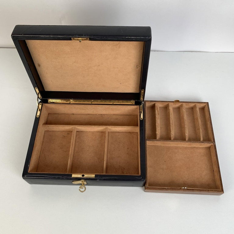 Gucci Vintage Black Leather and Suede Jewelry Case Box In Excellent Condition For Sale In Rome, Rome