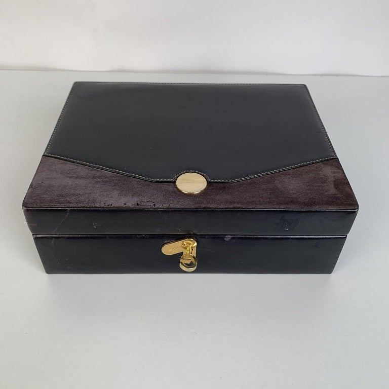 Women's Gucci Vintage Black Leather and Suede Jewelry Case Box For Sale