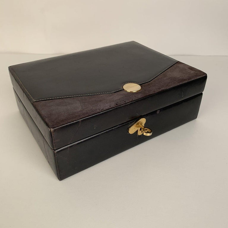 Gucci Vintage Black Leather and Suede Jewelry Case Box For Sale 1