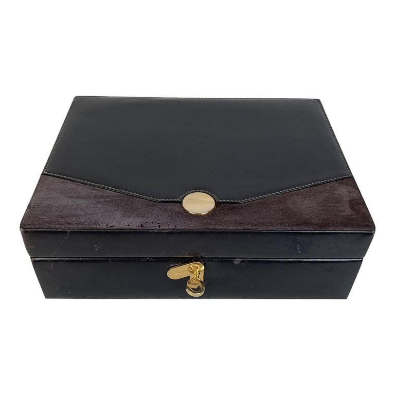Gucci Vintage Black Leather and Suede Jewelry Case Box For Sale