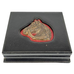 Gucci Vintage Black Leather Box with Brass Horse Head