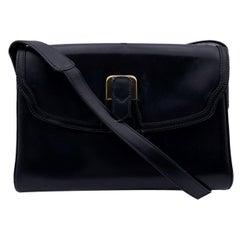 Gucci Vintage Black Leather Flap Shoulder Bag Crossbody