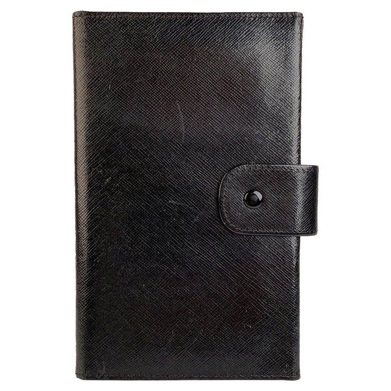 Gucci Vintage Black Leather Folding Travel Photo Frame For Sale