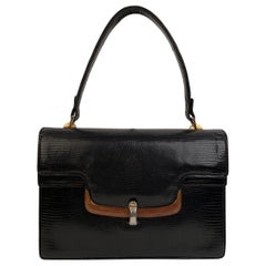 Gucci Vintage Black Leather Handbag Bakelite Top Handle Bag