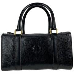 Gucci Vintage Black Leather Handbag Satchel Top Handles Bag