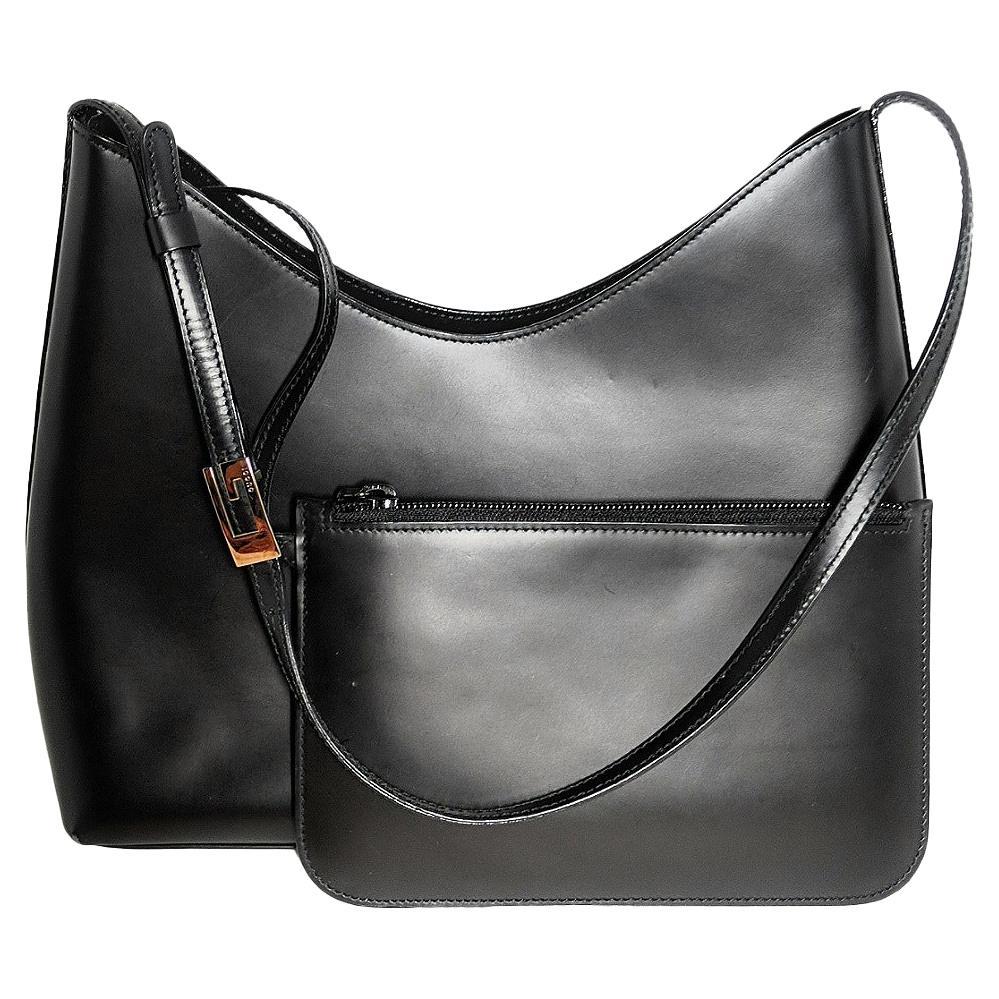 Gucci Vintage Black Leather Shoulder Bag