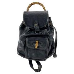 Gucci Vintage Black Leather Small Bamboo Backpack Shoulder Bag