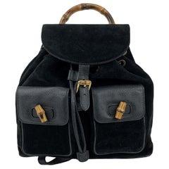 Gucci Vintage Black Leather Suede Bamboo Backpack Bag