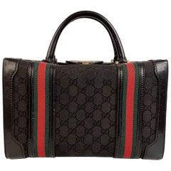 Gucci Vintage Black Monogram Canvas Train Case Beauty Bag