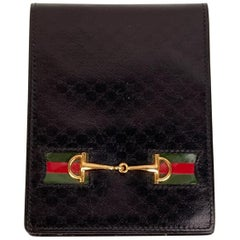 Gucci Vintage Black Monogram Leather Horsebit Pocket Notepad