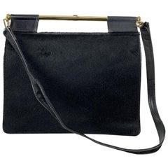 Gucci Vintage Black Pony Hair and Leather Handbag Shoulder Bag