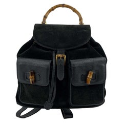Gucci Vintage Black Suede and Leather Bamboo Backpack Bag