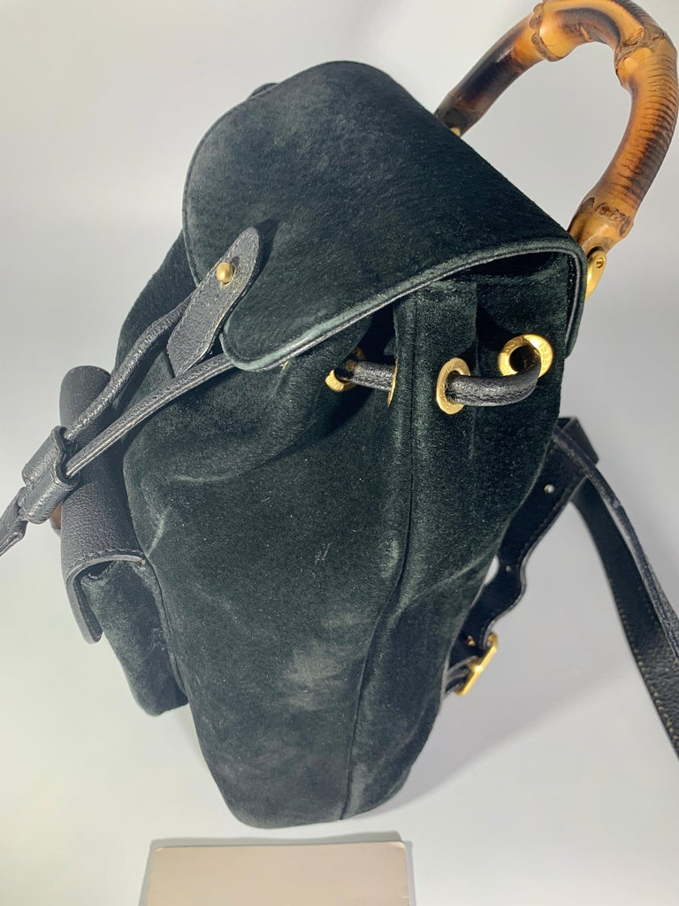 Gucci Vintage Black Suede/Leather  Bamboo Mini Backpack With Drawstring  For Sale 6