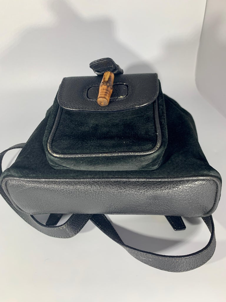 Gucci Vintage Black Suede/Leather  Bamboo Mini Backpack With Drawstring  For Sale 7