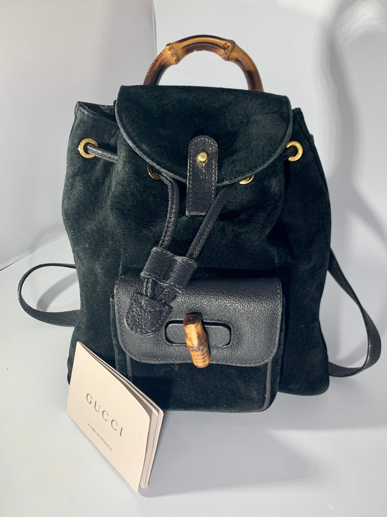 Gucci Vintage Black Suede/Leather  Bamboo Mini Backpack With Drawstring  In Excellent Condition For Sale In Scarsdale, NY