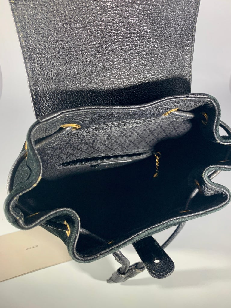 Women's Gucci Vintage Black Suede/Leather  Bamboo Mini Backpack With Drawstring  For Sale