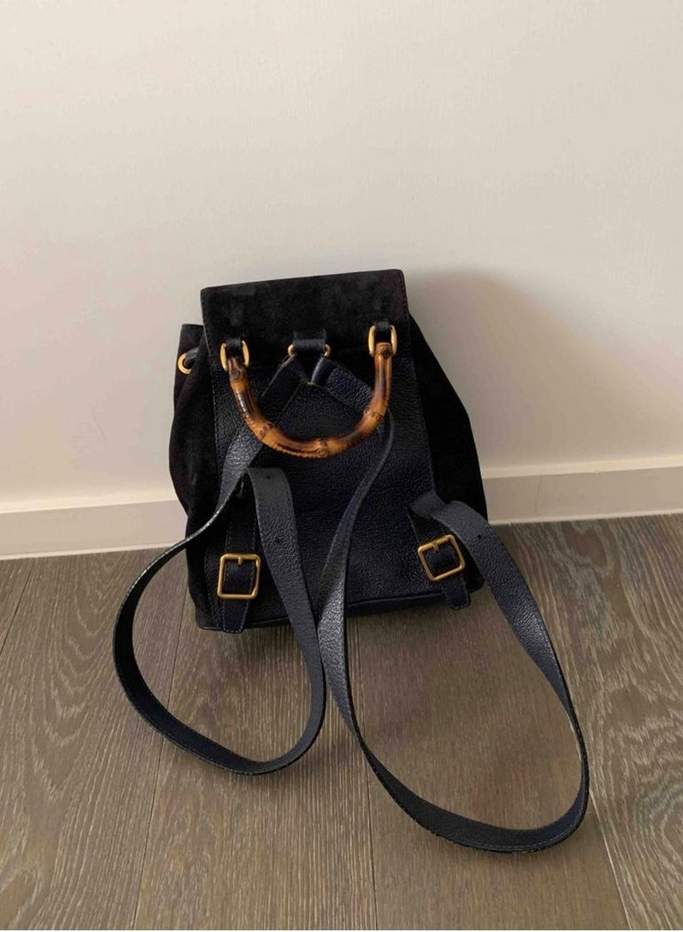 Gucci Vintage Black Suede/Leather  Bamboo Mini Backpack With Drawstring  For Sale 1