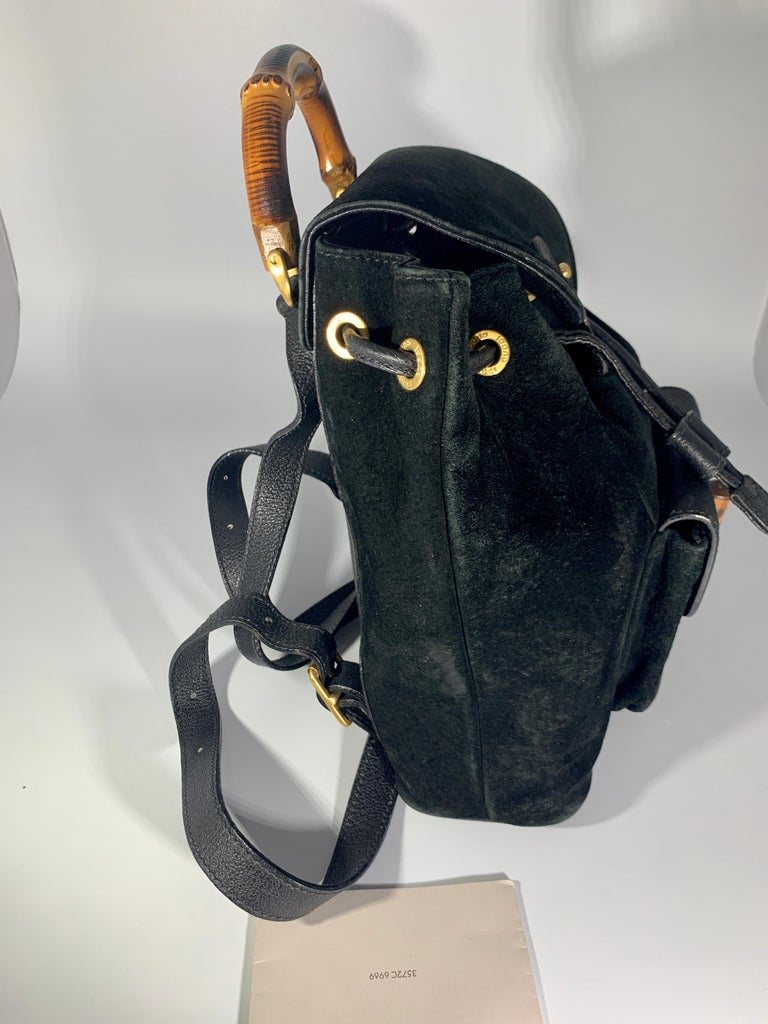Gucci Vintage Black Suede/Leather  Bamboo Mini Backpack With Drawstring  For Sale 5