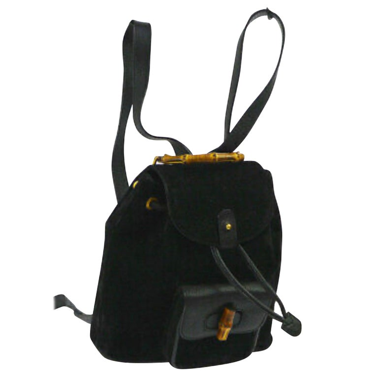 Gucci Vintage Black Suede/Leather  Bamboo Mini Backpack With Drawstring  For Sale