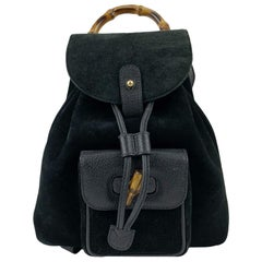 Gucci Vintage Black Suede Small Bamboo Backpack Shoulder Bag
