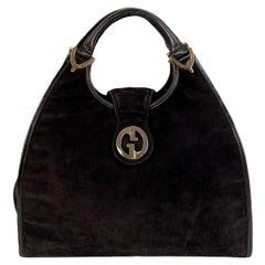 Gucci Vintage Black Suede Stirrup Hobo Bag Handbag