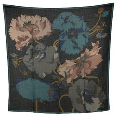 Gucci Vintage Black Turquoise Wool and Silk Floral Square Scarf