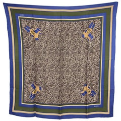 Gucci Vintage Blue and Green Silk Crepe Scarf Saddle Print