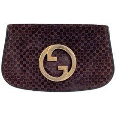 Gucci Vintage Blue Brown GG Monogram Suede Blondie Clutch Bag