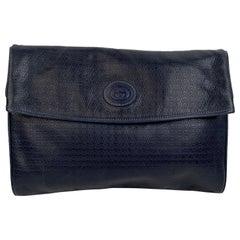Gucci Vintage Blue Embossed Leather Clutch Bag Handbag