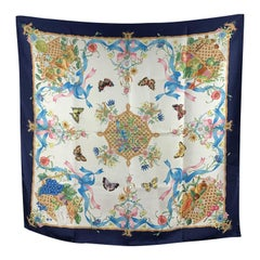 Gucci Vintage Blue Floral Baskets and Fruits Silk Scarf 1970s Accornero