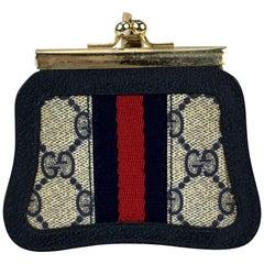 Gucci Vintage Blue Monogram Canvas Coin Purse with Stripes