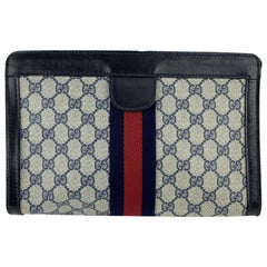 Gucci Vintage Blue Monogram Canvas Cosmetic Bag Clutch with Stripes