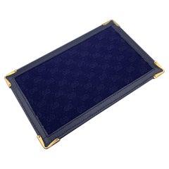 Gucci Vintage Blue Monogram Canvas Document Holder Wallet