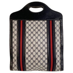 Gucci Vintage Blue Monogram Shopping Bag Tote with Stripes