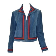 Gucci Vintage Blue Suede Jacket with Red, Navy Web Trim