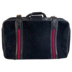 Gucci Vintage Blue Suede Medium Suitcase Travel Bag Stripes