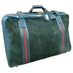 Gucci Vintage Blue Suede Suitcase Travel Bag