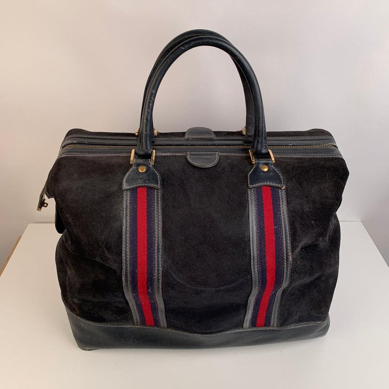 Gucci Vintage Blue Suede Web Travel Weekender Travel Boston Bag In Good Condition For Sale In Rome, Rome