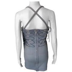 Gucci Vintage Bodycon Lace Up Bandage Grey Mini Dress
