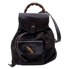 Gucci Vintage Brown Canvas Bamboo Small Backpack Shoulder Bag